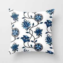 Stylized vintage Indian Flowers classic blue pattern Throw Pillow