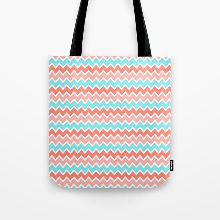 Coral Peach Pink and Aqua Turquoise Blue Chevron Tote Bag