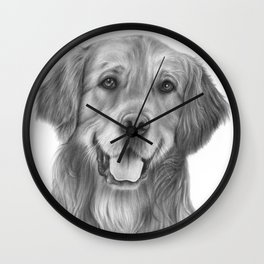 Golden Retriever graphite pencil drawing Wall Clock
