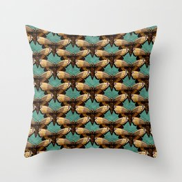 Brown Moths On Teal Throw Pillow