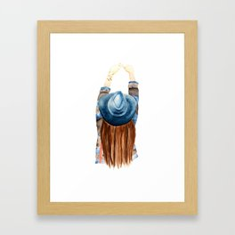 Girl with the Blue Hat Framed Art Print