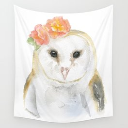 Barn Owl Floral Watercolor Wall Tapestry