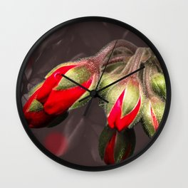 Bloom  Red And Dark Wall Clock