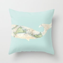 Nantucket Whale Throw Pillow