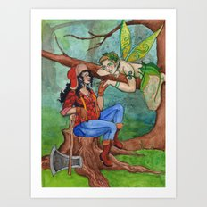 The Wood Nymph and the Lumberjack Art Print