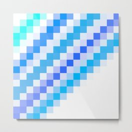 Blue pixel wave Metal Print