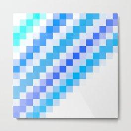 Blue pixel wave Metal Print