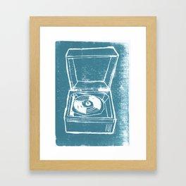 Record Player Lino Framed Art Print