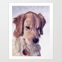 golden retriever Art Prints featuring Golden Retriever by Heather Amber
