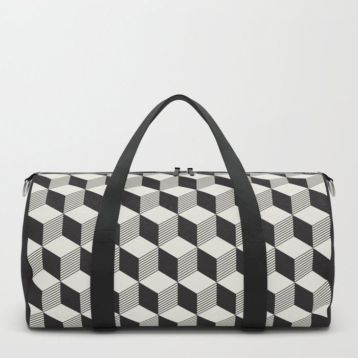 Geometric Pattern 195 (black gray blocks) Duffle Bag