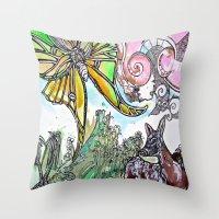 fawn Throw Pillows featuring Fawn by Dawn Patel Art