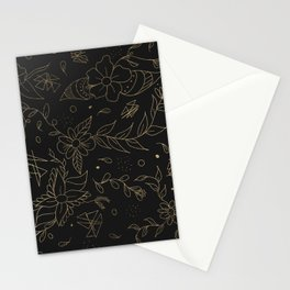 Gold foil floral pattern and geometric triangles on grey Stationery Cards