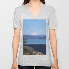 Mount Shasta and Shasta Lake Unisex V-Neck