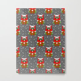 Christmas Snow Owl Pattern Metal Print