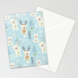 From Bears And Christmas - Cute teal X-Mas Pattern Stationery Cards