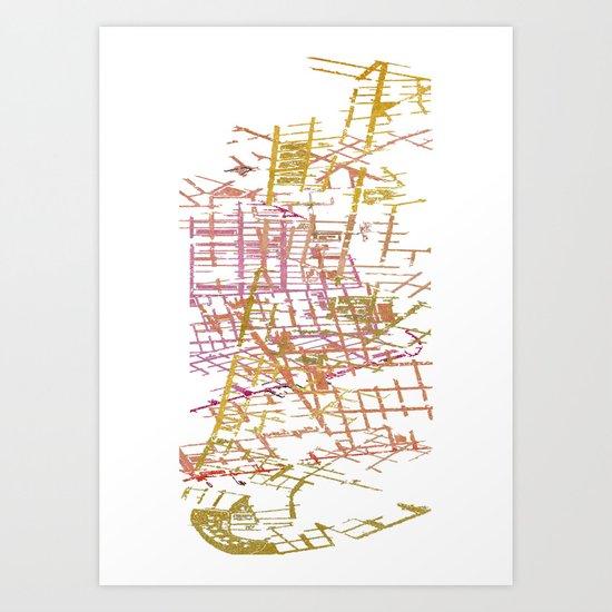 NYC Map lines Art Print