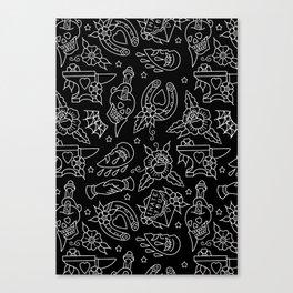 Classic Black Tattoo Pattern  Canvas Print