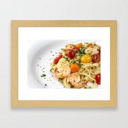 Spaghetti pasta with prawns Framed Art Print