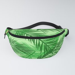 Palm Leaf Print, Emerald and Light Lime Green Fanny Pack