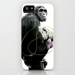 Monkey Listens to Music iPhone Case