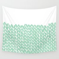 knit Wall Tapestries featuring Half Knit Mint by Project M