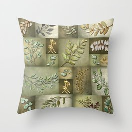 Earthtone Color Blocks with Botanicals Throw Pillow