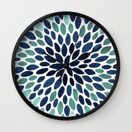 Floral Throw Pillows, Aqua, Teal and Navy Blue, Colorful Pillows Wall Clock
