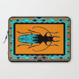 Black Turquoise Stag horn Beetle Western Art Abstract Laptop Sleeve