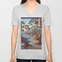 The Maiko beach in Harima province by Utagawa Hiroshige, 1853 Unisex V-Neck