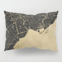 Toronto Gold and Black Street Map Pillow Sham