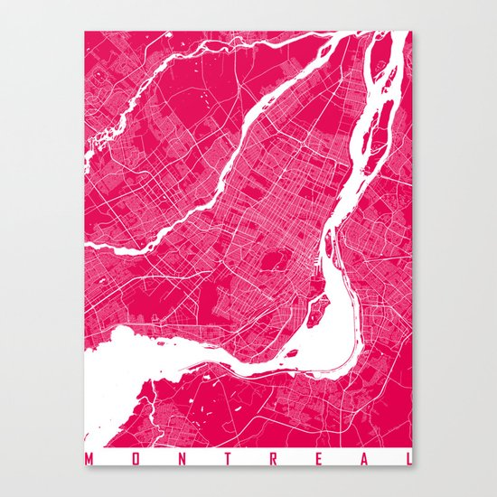 Montreal map raspberry Canvas Print