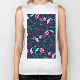 Modern winter bright navy blue pink turquoise teal floral pattern illustration Biker Tank