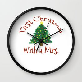 First Christmas with a Mrs 1st Married Xmas Husband Wall Clock