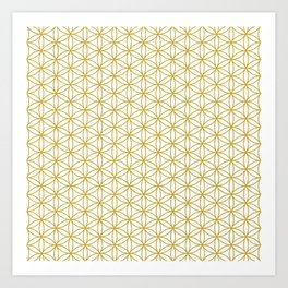 Flower of Life Pattern – Gold & White Art Print
