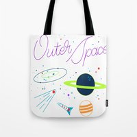 outer space Tote Bags featuring Outer Space! by Conscious Transmitter