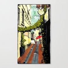 Red umbrella, Amsterdam Canvas Print