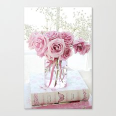 Watercolor Roses On Books  Canvas Print