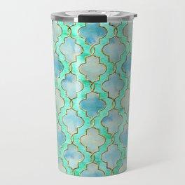 Luxury Aqua Teal Mint and Gold oriental quatrefoil pattern Travel Mug