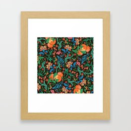 Asian-Inspired Floral Pattern With Orange Blossoms Framed Art Print