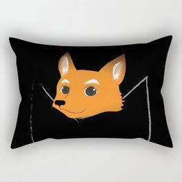 Fox in my pocket - on black Rectangular Pillow