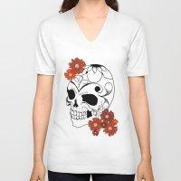 sugar skull V-neck T-shirts featuring Sugar Skull by Tanya Thomas