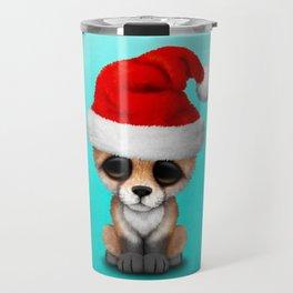 Christmas Fox Wearing a Santa Hat Travel Mug