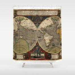 1595 Vera Totius Expeditionis Nauticae - Map of Sir Francis Drake's Circumnavigation of the Globe Shower Curtain