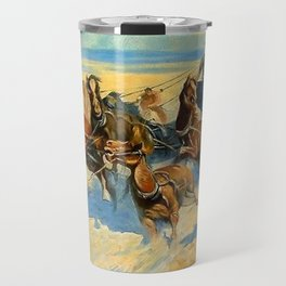 "Frederic Remington Western Art ""Downing the Nigh Leader"" Travel Mug"