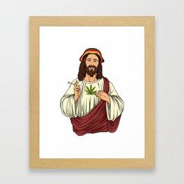 Weed Smoking Jesus Christ - Cannabis Stoner THC Framed Art Print