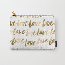 Gold Love Script Carry-All Pouch