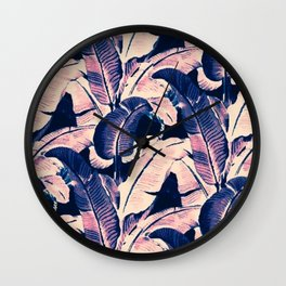 Purple tropical banana leaves Wall Clock