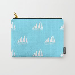 White Sailboat Pattern on turquoise background Carry-All Pouch