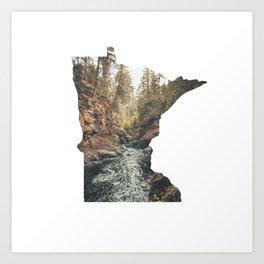 Cascade River State Park Minnesota Outline Art Print