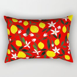 Lemons Red Rectangular Pillow